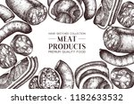 vector frame with meat sketches.... | Shutterstock .eps vector #1182633532