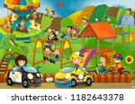 cartoon scene with happy and... | Shutterstock . vector #1182643378