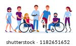 disabled people with... | Shutterstock .eps vector #1182651652