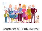 big family standing together as ... | Shutterstock .eps vector #1182659692