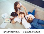 cheerful family playing... | Shutterstock . vector #1182669235