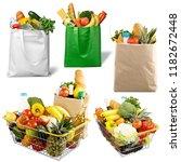 full shopping basket and bags | Shutterstock . vector #1182672448
