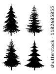 christmas fir trees set  black... | Shutterstock .eps vector #1182685855