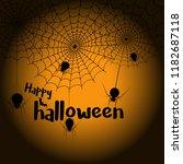 happy halloween spider web and... | Shutterstock .eps vector #1182687118