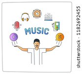 a music man character with his... | Shutterstock .eps vector #1182692455