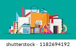 stationery set icons. book ... | Shutterstock . vector #1182694192