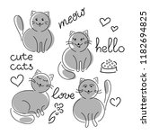set  cute cats hand drawn.... | Shutterstock .eps vector #1182694825