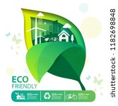 eco green city.save the world... | Shutterstock .eps vector #1182698848