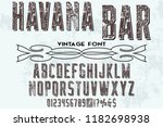 vintage font handcrafted vector ...   Shutterstock .eps vector #1182698938