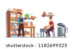 potter and assistant working on ... | Shutterstock .eps vector #1182699325