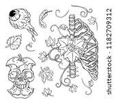 dead body halloween set. nature.... | Shutterstock .eps vector #1182709312