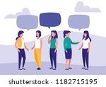 group of women talking... | Shutterstock .eps vector #1182715195