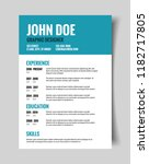 resume cv template | Shutterstock .eps vector #1182717805