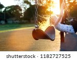 happy girl  swinging  in a... | Shutterstock . vector #1182727525