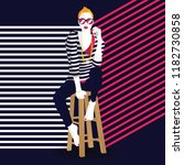 fashion woman in style pop art. ... | Shutterstock .eps vector #1182730858