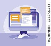 desktop computer with webpage...   Shutterstock .eps vector #1182731365