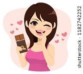 lovely brunette woman eating... | Shutterstock .eps vector #1182742252