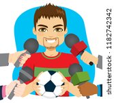 young male soccer football... | Shutterstock .eps vector #1182742342