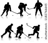 set of silhouettes of hockey... | Shutterstock .eps vector #1182766645