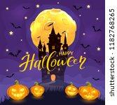 moon and bats on night... | Shutterstock . vector #1182768265