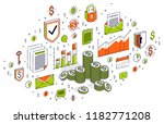 cash money coin cent stacks... | Shutterstock .eps vector #1182771208