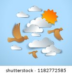 birds flying in the sky among... | Shutterstock .eps vector #1182772585