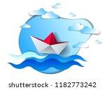paper ship swimming in sea...   Shutterstock .eps vector #1182773242