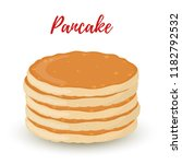 vector cartoon pile of pancakes ... | Shutterstock .eps vector #1182792532