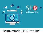 flat illustration web analytics ... | Shutterstock .eps vector #1182794485