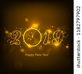 happy new year 2019 text design ... | Shutterstock .eps vector #1182797902
