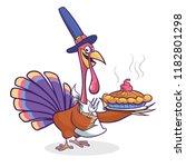 thanksgiving cartoon turkey...   Shutterstock .eps vector #1182801298