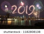 new year eve 2019 fireworks | Shutterstock . vector #1182808138