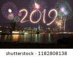 new year eve 2019 fireworks | Shutterstock . vector #1182808138