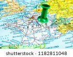 closeup of draw pin stick into... | Shutterstock . vector #1182811048