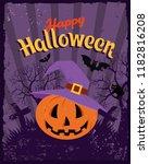 happy halloween vintage poster. ... | Shutterstock .eps vector #1182816208