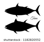 silhouette of tuna. hand drawn... | Shutterstock .eps vector #1182820552