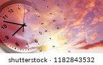 clock and calendar in bright... | Shutterstock . vector #1182843532