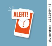alert sign on the smartphone... | Shutterstock .eps vector #1182849445