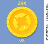 zrx coin cryptocurrency... | Shutterstock . vector #1182881488