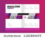 magazine template with two... | Shutterstock .eps vector #1182884695