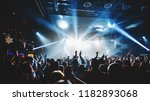 silhouette of concert crowd in... | Shutterstock . vector #1182893068