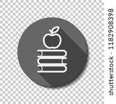 apple on books icon. knowledge... | Shutterstock .eps vector #1182908398