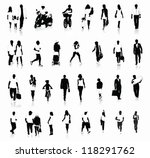 collection of people silhouettes | Shutterstock .eps vector #118291762
