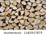 chopped firewood combined to... | Shutterstock . vector #1182917875