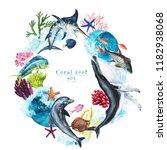 watercolor marine frame  ... | Shutterstock . vector #1182938068