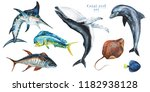 watercolor set of hand drawn... | Shutterstock . vector #1182938128