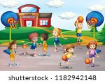 students playing basketball in... | Shutterstock .eps vector #1182942148