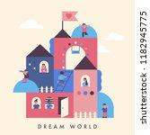 cute children living in dream... | Shutterstock .eps vector #1182945775