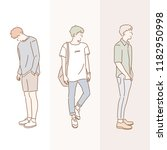 fashion of a stylish boy. hand... | Shutterstock .eps vector #1182950998