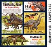 dinosaur jurassic animal sketch ... | Shutterstock .eps vector #1182957682